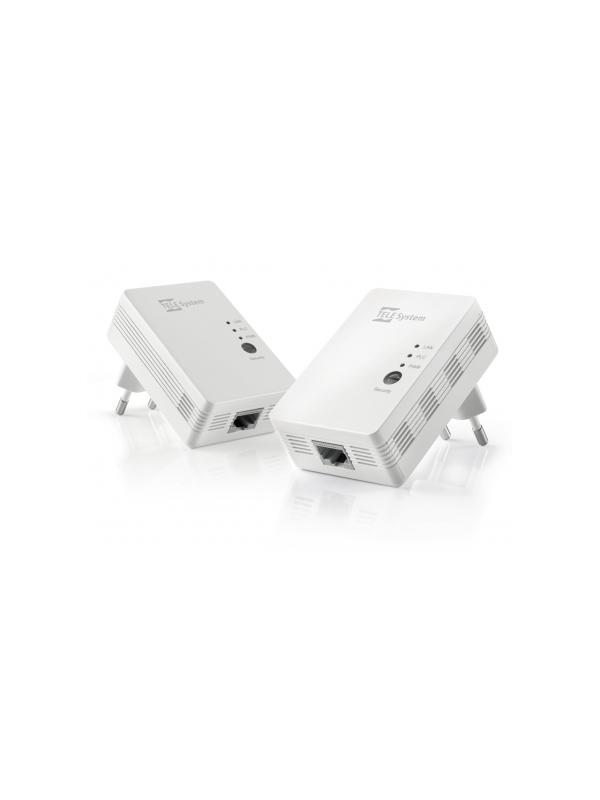 JUEGO 2 PLC 500Mbit/s P.LINK0.2 TELESYSTEM - Acceda a Internet desde su PC, Smart TV o IP Box a través del cableado eléctrico de su casa.