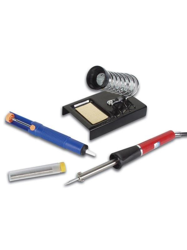 Kit de Soldador + desoldador + soporte + estaño - Kit básico para empezar a soldar o para uso doméstico.