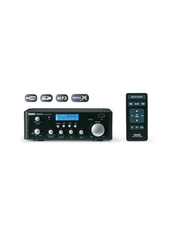 Amplificador Fonestar AS-24U MP3/USB/SD 2x25W  - Amplificador estéreo Hi-Fi de dimensiones muy reducidas con entrada USB y SD 2x25 W.