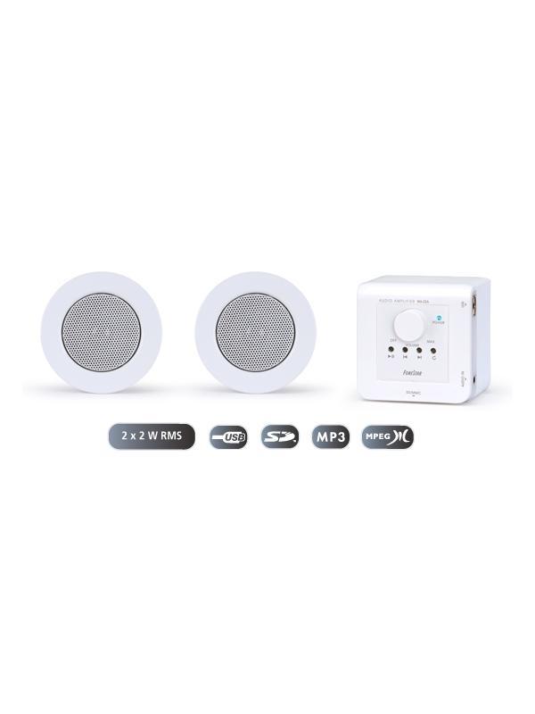 KIT SONIDO FONESTAR OFICINA Y HOGAR KS-02 - Sistema de sonido integrado de fácil instalación para pequeñas sonorizaciones o aplicaciones domésticas. Compuesto por amplificador de pared y altavoces de techo.