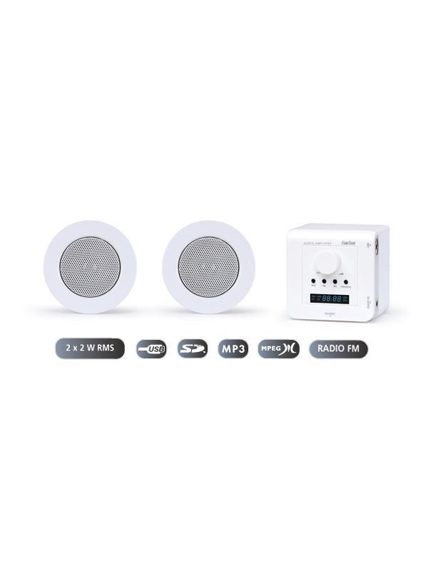 KIT SONIDO FONESTAR OFICINA Y HOGAR FONESTAR KS-01 - Sistema de sonido integrado de fácil instalación para pequeñas sonorizaciones o aplicaciones domésticas. Compuesto por amplificador de pared y altavoces de techo.