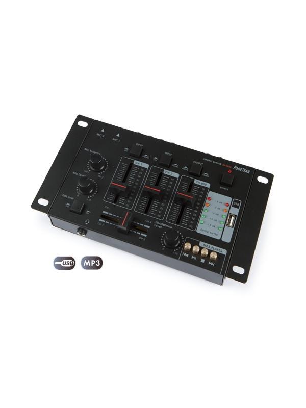 MEZCLADOR PROF. FONESTAR 5 CANALES USB SM-505U - Mezclador compacto de 2 canales y reproductor USB/MP3