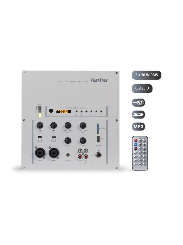AMPLIFICADOR PARED FONESTAR 2x50W WA-4100 - Amplificador estéreo de pared para montaje en superficie o empotrado con reproductor USB/SD de ficheros MP3 con mando a distancia.
