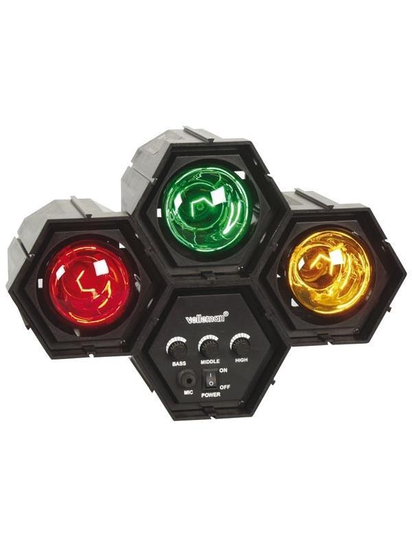 Organo de luces modular 3x60w - Sistema modular con micrófono incorporado. Tres bombillas de 60W incluidos.