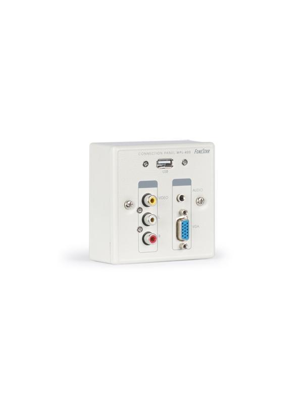 PANEL FONESTAR VGA/3.5/3xRCA/USB CAJA (WPL-400) - Panel de conexión con conectores de VGA, puerto USB, audio estéreo y vídeo compuesto.