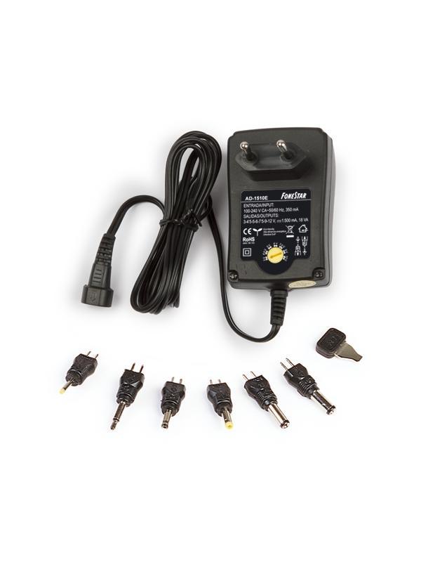ALIMENTADOR ESTABILIZADO 3-12V 1500mA - Adaptador de 1500mA de alta eficiencia energética conmutado y estabilizado, con protecciones y 6 conectores intercambiables para las conexiones más comunes.