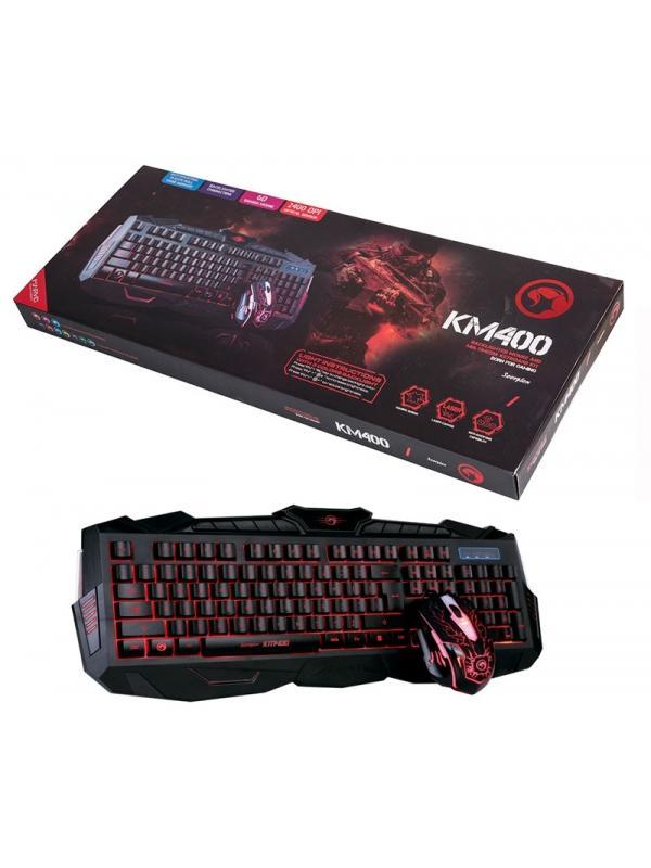 Combo teclado + ratón KM400 - Pack completo con teclado de membrana, con todas las funciones, diferentes modos i colores ajustables y ratón ergonómico con luz de diferentes colores y 6D.
