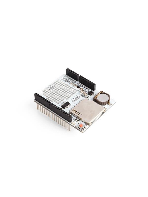 DATA LOGGING SHIELD COMPATIBLE CON ARDUINO - Práctico shield de grabación de datos para Arduino. La interfaz de tarjeta SD funciona con tarjetas FAT16 o FAT32 formateadas. Con el cambiador de nivel de 3.3 V se evitarán daños a la tarjeta SD. El reloj en tiempo real mantiene la hora actual.