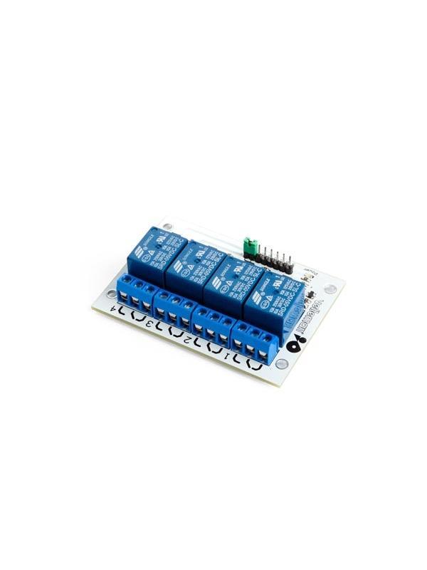 MÓDULO RELÉS DE 4 CANALES - Con esta tarjeta de relés de 4 canales puede controlar varios aparatos con o sin corriente elevada. Se puede controlar directamente por microcontrolador.