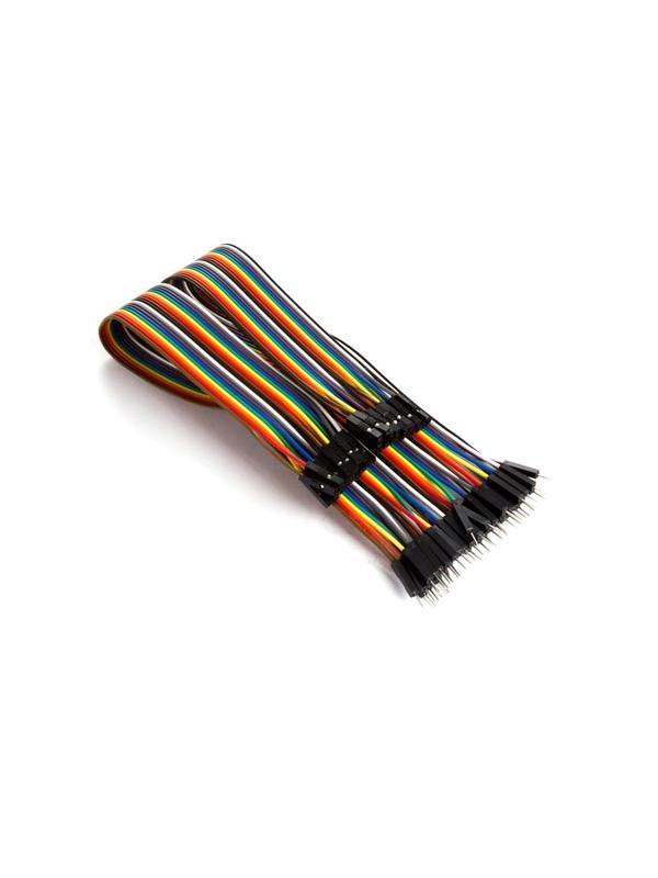 CABLE DE PUENTE 40 POLOS 30 cm MACHO A HEMBRA (CABLE PLANO) - Es fácil separar este cable en uno o varios cables de puente.