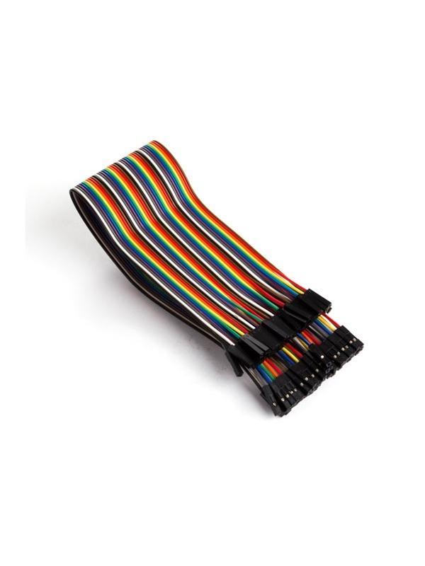 CABLE DE PUENTE 40 POLOS 30 cm HEMBRA A HEMBRA (CABLE PLANO) - Es fácil separar este cable en uno o varios cables de puente.