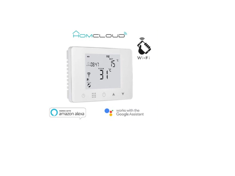 CRONOTERMOSTATO DIGITAL HOMCLOUD WIFI RECEPTOR  RF - Gestiona la temperatura de tu hogar de forma moderna gracias al nuevo termostato programable digital WiFi Homcloud con receptor RF.