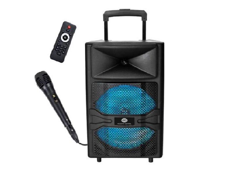 AC HOME 12 BT ALTAVOZ PORTATIL BLUETOOTH - Altavoz portátil bluetooth de 50W con luces led, reproductor MP3 y radio FM, incluye mando a distancia y micrófono.
