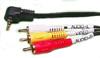 Conexión RCA M a jack 3,5 4 cont. de 2 metros. - Conexión con 3 conectores RCA macho de PVC (dos de audio y uno de video) y un jack de 3,5 mm de 4 contacctos macho.